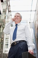 Businessman carrying briefcase and talking on cell phone