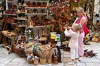 Mother and daughter shop for toys and souvenirs  Kerkyra old town, Corfu, Greece