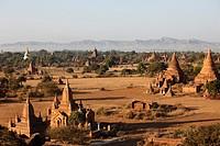 Myanmar, Burma, Bagan, temples, general aerial view,