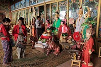 Myanmar, Burma, Mt Popa, Mahagiri Shrine, nat spirit statues, pilgrimage site, people