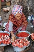 Myanmar, Burma, Chauk village, market,