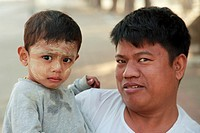 Myanmar, Burma, Mandalay, father and son portrait,