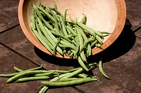 Wooden bowl with green beans Phaseolus vulgaris