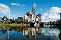 Southbank district and the St Kilda Road Bridge, Melbourne, Victoria, Australia