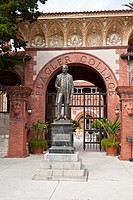 St  Augustine, FL - Jan 2009 - Memorial statue of Henry Flagler at entrance to Flagler College, an historic liberal arts school in St  Augustine, Flor...