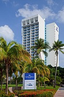 The entrance to the Caribe Hilton Resort in San Juan, Puerto Rico, West Indies