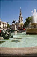 Trafalgar Square, Fountains, London, UK