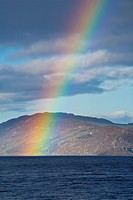 Scotland, Scottish Highlands, Loch Ness  A rainbow over Loch Ness, Great Glen