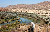 Namibia - At the beautiful Epupa Falls the Kunene River border river between Namibia and Angola drops in a series of cascades into a 60m deep gorge  T...