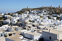 Greece, Cyclades, Amorgos  View of the city of Hora and famous old windmills