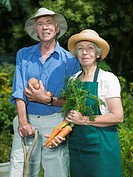 Senior couple with vegetables