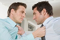 Germany, Munich, two Business men fighting in office, close_up