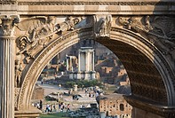 Italy, Rome, Arch of Septimius Severus, Temple of Vesta in background