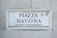 Italy, Rome, road sign on wall, Piazza Navona, Navona Square, close up