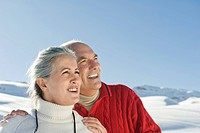 Italy, South Tyrol, Seiseralm, Senior couple in winterly landscape, portrait, close_up