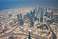 Dubai, United Arab Emirates, Middle East, UAE, blocks of flats, high_rise buildings, street, traffic, from above, travel, traveling, place of interest...