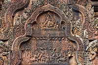 Cambodia, Far East, Asia, temple, religion, cultural site, culture, figures, world cultural heritage, Siem Reap, Banteay Srei, detail, art, skill, tra...