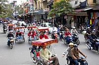 Vietnam, Asia, Far East, Hanoi, town, city, street, traffic, motorcycles, motorbikes, waste gases, environmental pollution, people, people, travel, pl...