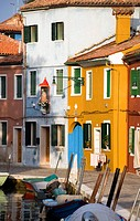 Italy, Venice, Burano, Canal and boats
