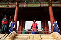 The changing of ceremonial guards at Gyeongbokgung palace