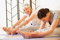 Two women doing exercise on mat, portrait