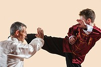 Kung Fu, Changquan, Duilian, Long Fist Style, Kung Fu instructor and boy 10_11