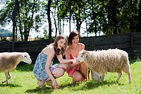 Germany, Bavaria, Two women on pasture feeding sheep, smiling, portrait