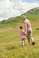 Italy, Seiseralm, Grandfather and grandson 6-7 walking in field, rear view (thumbnail)