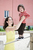 Germany, Berlin, Mother and son 3_4 at playground