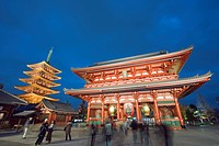 Sensoji temple illuminated at night, Asakusa, Tokyo, Japan, Asia