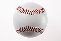 Baseball against white background, close_up