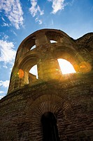 Germany, Rhineland_Palatinate, Treves, Ruins of an imperial thermal bath, low angle view