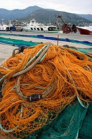 Fishing net in Port de la Selva, Costa Brava, Girona province, Catalonia, Spain