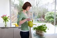 Woman watering herbs