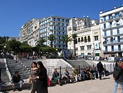 Place, hotel Albert 1er (middle) and mosque (right), boulevard Mohamed Khemisti, Algiers, North Africa
