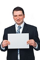 Successful young businessman holding a blank white sign over white background