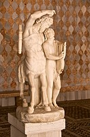 Statue of  Centaur teaching Achillae how to play the cythar, ( 1817 by Rinaldo Rinaldi) on Mosaic background wall, Carrare Marble, Ca d'Oro Palace, Ve...