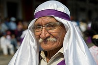 Guatemala, Antigua, Holy week, Senior man dressed in robes