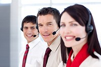 Young business people working in a call center Business concept
