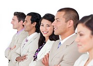 Asian business woman and her team lining up against a white background