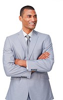 Confident ethnic businessman with folded arms isolated on a white background