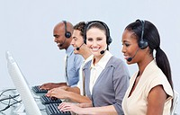 Assertive customer service representatives using headset in a call_center