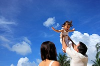 Low angle view of a mature man lifting his daughter up