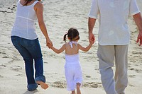 Rear view of a couple walking with their daughter on the beach