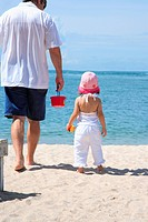 Rear view of a mature man with his daughter walking on the beach