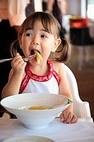 Close_up of a girl eating fruit with a fork