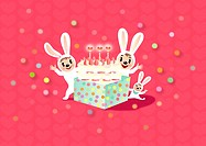Three rabbits celebrating a birthday