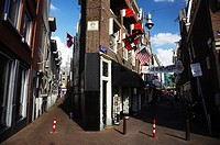 Netherlands, North Holland, Amsterdam  Unusual shaped building in a pedestrian street near the Rembrandplein in Amsterdam City