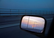 Reflection of a bridge in the side view mirror of a car, Olandsbron, Sweden