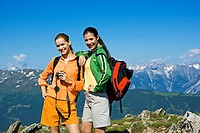 Two young women hiking in the mountains